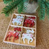 Set 8 Wooden Red White Christmas Tree Decorations Tree Heart Reindeer Snowflake