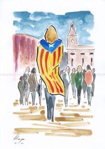 Llop - Reus, manifestacio al Mercadal #4 - aquarel·la original 30x21