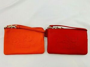NWT COACH SMALL EMBOSSED HORSE CARRIAGE ZIP WRISTLET Red/Orange