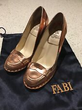 Fabi Copper Metalic Leather Heels - Size 39.5 Made In Italy