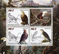 Benin 2015 MNH Birds of Prey Raptors 4v M/S Tawny Bald Eagle Eagles Stamps