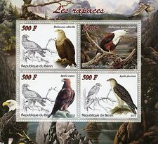 Benin 2015 MNH Birds of Prey Raptors 4v M/S Tawny Bald Eagle Eagles Stamps