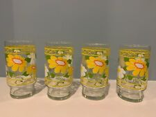 Set of 4 Vintage Anchor Hocking Fire King HILDI Daisy Floral Drinking Glasses