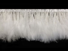1 Yard - White Marabou Turkey Fluff Feather Fringe Trim Garment Party Dress Prom