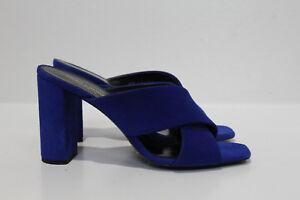 sz 7 / 37.5 Saint Laurent Loulou Blue Suede Criss Cross Open Slide Sandal Shoes