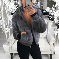 Women's Fluffy Winter Jacket Coat Tops Fur Overcoat Fleece Hooded Warm Outerwear
