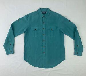 Polo Ralph Lauren Silk Linen Shirt Men's Large Green Long Sleeve Button Down