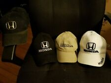 Honda hats cap lot of 4 -- 2 black 1 tan 1 white