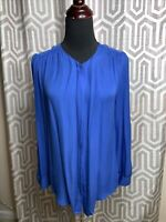 Joie Silk Cobalt Blue Blouse Shirt GUC Sz Small