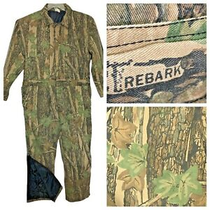 Vtg REBARK Camo Coveralls XL Full Zip Quilted Lining Insulated Camouflage Flaw