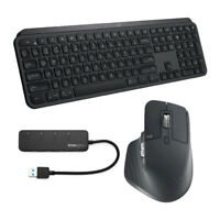 Logitech MX Keys Wireless Keyboard with MX Master 3 Wireless Mouse and USB Hub