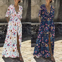 ZANZEA 8-24 Women 3/4 Sleeve Slit Front Printed Floral Sundress Flare Maxi Dress