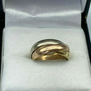 18ct Gold  3 x Colour Gold Russian Wedding Ring.  Size I.  Goldmine Jewellers.