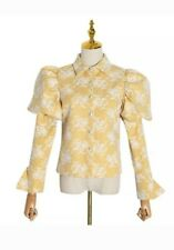 Yellow White Victorian Puff Sleeve Diamante Summer Blouse Shirt 8 10