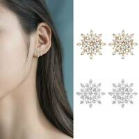 Fashion 925 Silver Glitter Christmas Snowflake Ear Stud Earrings Snow Jewelry