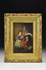 KPM Porcelain Plaque with Young Lady and a Toasting Gentleman 19th Century