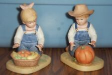 Vintage 1985 Homco Denim Days Porcelain Figurines - Harvest Helpers #1518
