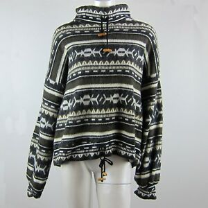 Long Sleeve Warm Winter Poncho Pullover Jumper Loose Knitted Gray Pattern Size S