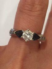 DIAMOND & SAPPHIRE RING 14 KT WHITE GOLD
