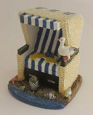 Deko Strandkorb blau/weiß 12 cm Ostsee Nordsee Geschenk Strand Korb Sand Möwe
