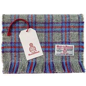 Harris Tweed Grey Blue Red & Purple Check Pure Wool Luxury Unisex Fringed Scarf