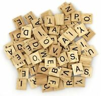200x Wooden Scrabble Tiles Black Letters Wood Craft Alphabet Board Game Genuine