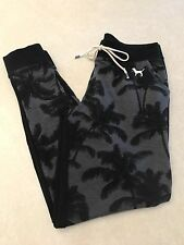 Victoria's Secret Pink Sweat Pants Joggers Black Gray Palm Trees Size Small NWT