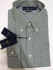 Ralph Lauren Men's 120's 2-ply Shirt Dark Green White Striped Size S Small *NEW*