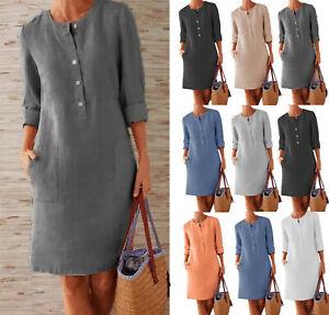 Summer Womens Cotton Linen Long Sleeve Button Pocket Midi Shirt Dress Plus Size