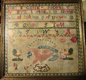 """1885 Sampler Eagle Motif """"E Pluribus Unum"""" Alphabet Numbers Anchor Della Age 17"""