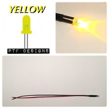 1 YELLOW LED SOLID, 9-12 Volts Pre Wired 3mm DC , Lighting For Layouts, USA