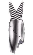 ALTUZARRA Marceau Stretch Cotton Striped Wrap Dress Size 38 (US 4) NEW