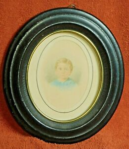 Antique Miniature Portrait Sandy Hair Blue Eyes Boy Early Victorian Painting OLD