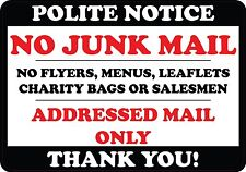 Polite Notice No Junk Mail Flyers Leaflets Menus Door Sticker sign label decal