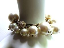 J CREW Faux Pearl and Rhinestone BAUBLE Bracelet EUC