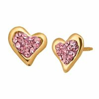 Crystaluxe Heart Stud Earrings with Swarovski Crystals in 14K Gold
