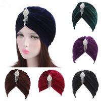 Women's Muslim Velvet Turban Head Scarf Hijab Caps Beanie Hats Cover Bandanas