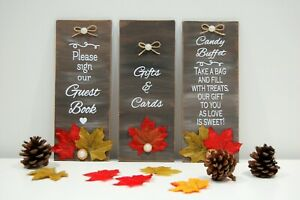 Autumn Wedding Signs, SET OF 3 SIGNS, Rustic Wedding Decor, Table Signs, Wedding