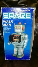 ME-100 SPACE WALK MAN ROBOT TIN LITHOGRAPHED BATTERY OPERATED TOY WITH BOX
