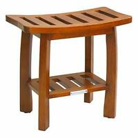 Oceanstar Oceanstar Solid Wood Spa Shower Bench with Storage Shelf, Teak Colo...