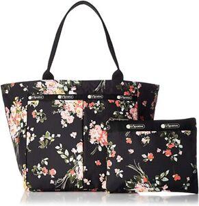 LeSportsac Garden Rose Small EveryGirl Tote Bag + Cosmetic Bag, Free Ship, NWT