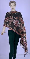 INDIAN SILK SHAWL REVERSIBLE JAMAVAR STOLE FLORAL SCARF SOFT WOOL BLACK SHAWL