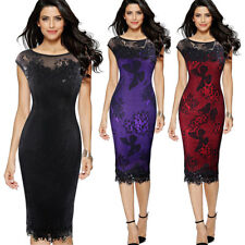 Women's Bodycon Midi Butterfly Lace Dress Ladies Pencil Cocktail Evening Dress