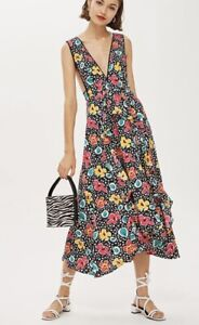 Topshop Floral Pinafore Dress Blogger Instagram Sold Out Size 12 Tea Dress