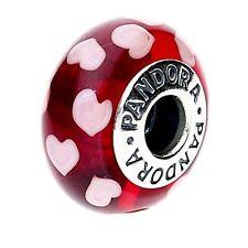 Genuine Pandora Red and White Heart Silver Murano Glass Charm - 790948