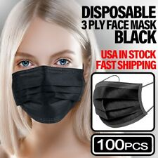 *100 PCS* - Face Mask Non Medical Disposable 3-PLY Earloop Mouth Cover - [Black]