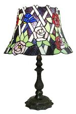 Bell Rose Pattern Tiffany Stained Glass Shade & Lamp Base