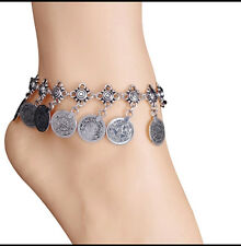 Silver Foot Chain Barefoot Antique Vintage Coin Anklet Tassels