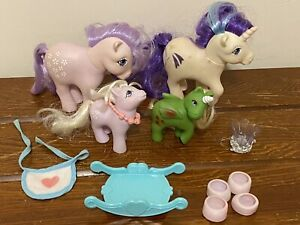 My Little Pony Vintage Lot Of 4 With Accessories Rocker Crown Shoes Bib 1982-84
