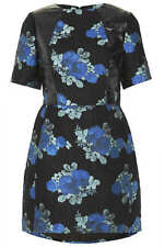 TopShop Celebrity Blue Vinyl Jacquard Floral Print Dress size 12 UK rrp£80.00